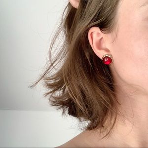 Vintage gold and red stud earrings